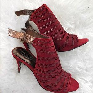 Shoes - Red Brown Metallic Heels